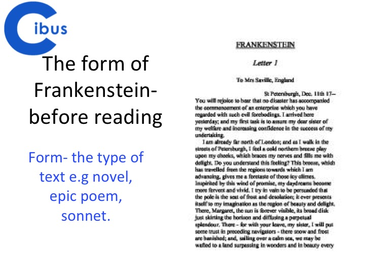 Frankenstein- A Level focus- Analysis of form