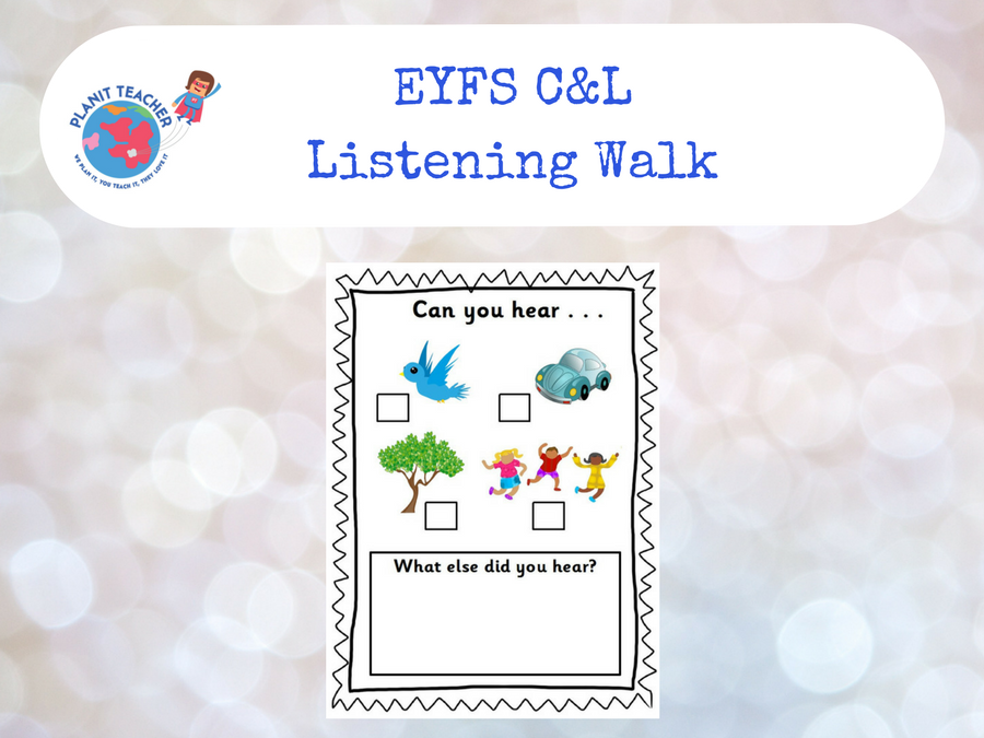 Listening Walk Recording Card - EYFS C&L