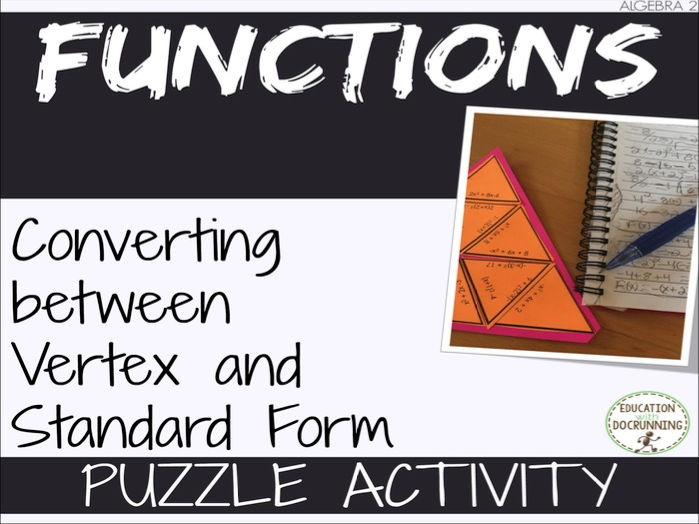 Vertex and Standard Form of Quadratic Functions Puzzle Activity by ...