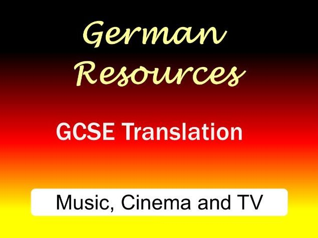 German GCSE - Exam Style Translation Tasks - Music, Cinema and TV - Musik, Kino und Fernsehen