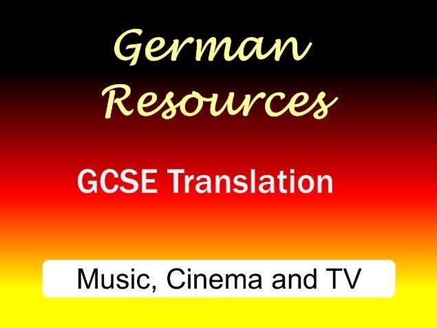 German GCSE - Exam Style Translation Tasks - Music, Cinema and TV - Musik, Kino und Fernsehen
