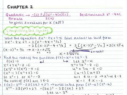AS Pure Maths notes- Chapter 2 (Quadratics)