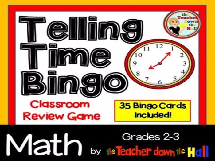 Telling Time Bingo w/ 35 Bingo Cards Grades 2-3