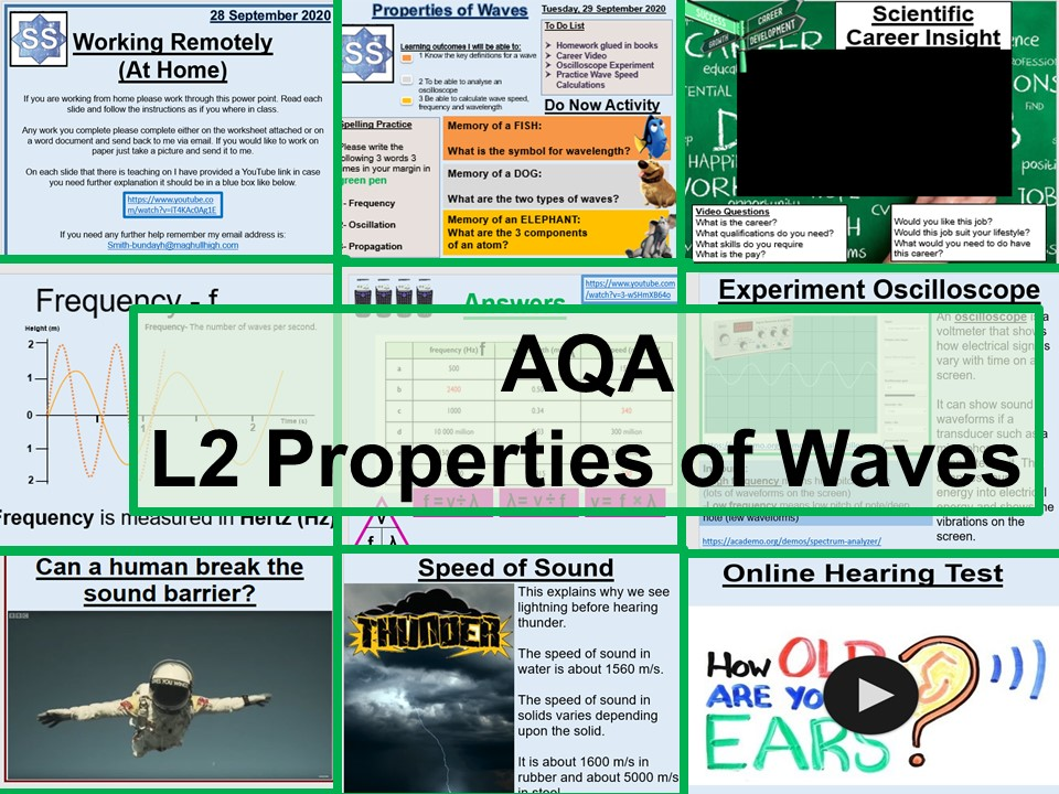 GCSE Physics Properties of Waves AQA T6 Lesson and Worksheets