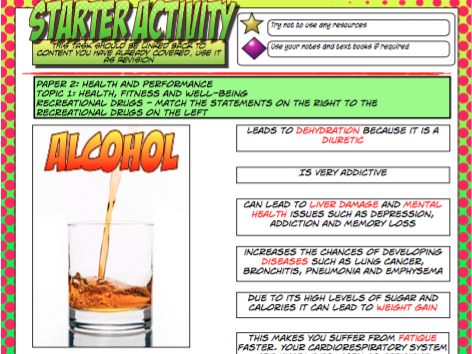 Recreational Drugs - Starter Activity