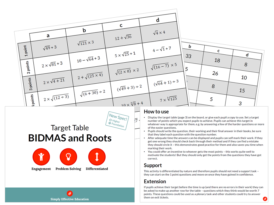 BIDMAS and Roots (Target Table)