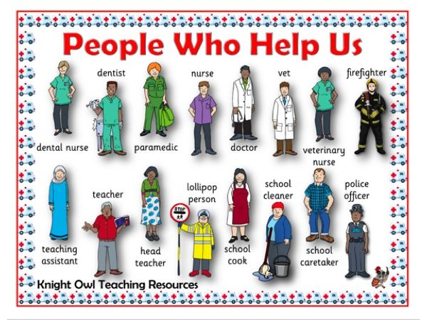 People Who Help Us word Mat