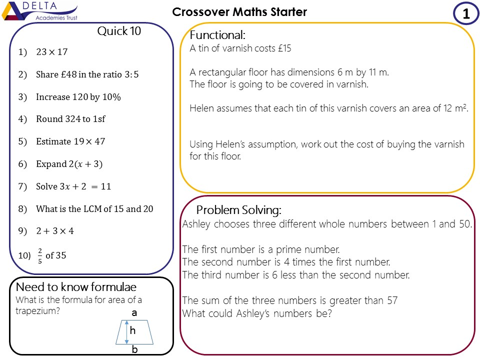 Crossover Maths Starters