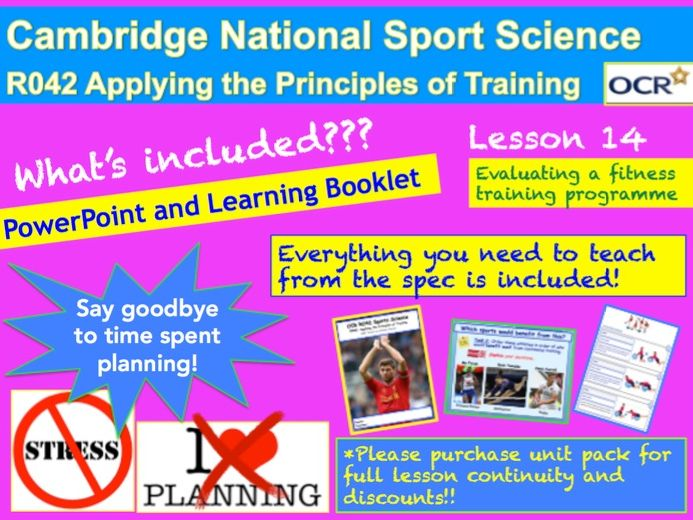Cambridge National Sports Science R042: Evaluate a fitness-training programme.