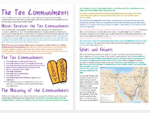 Old Testament Stories: Ten Commandments: Differentiated Information and Activities