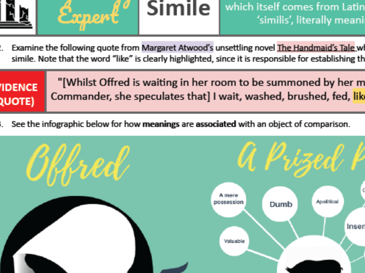 IBDP A Levels English Language Literature Context Handmaid's Tale Atwood TECHNIQUE ANALYSIS 1 SIMILE