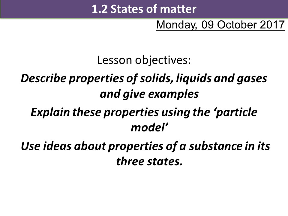 Activate 1 SOW Chemistry Chapter 1 States of matter
