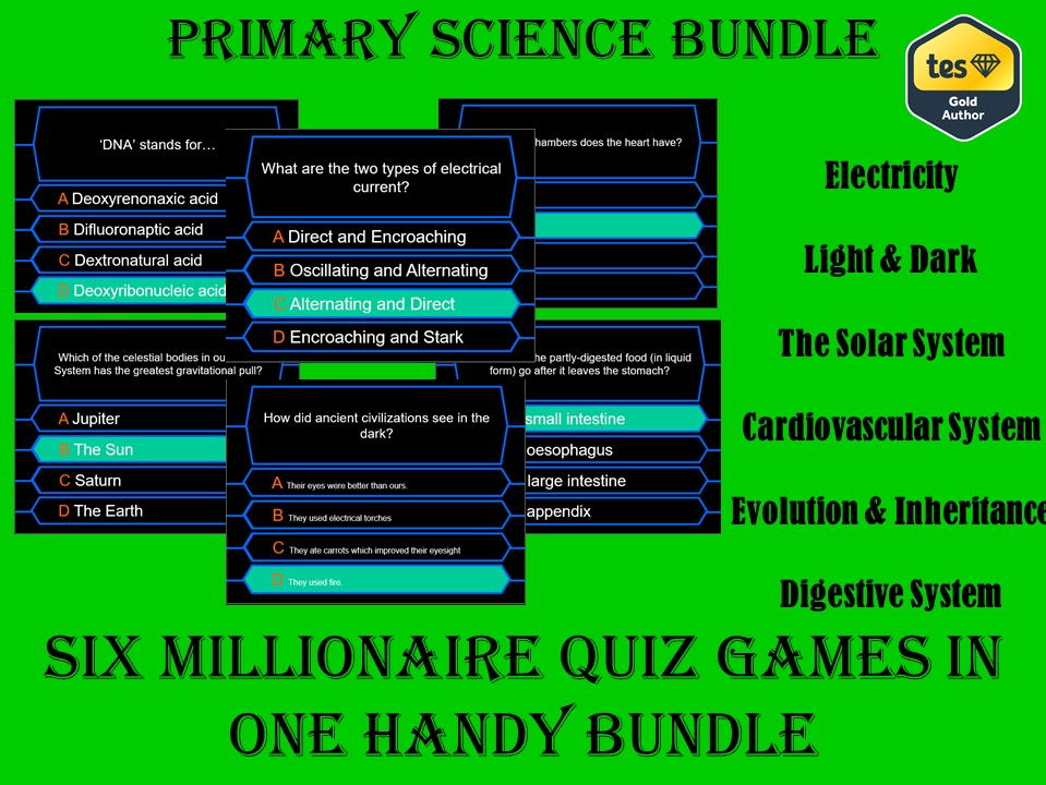Millionaire Quiz Primary Science Bundle