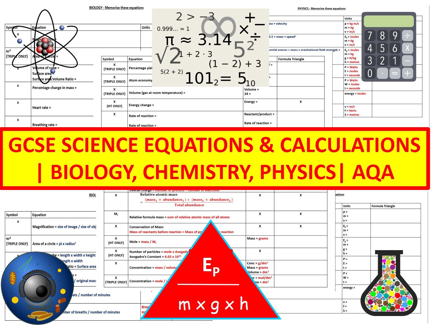 Equations | Biology | Chemistry | Physics | AQA | Combined & Triple Science | Worksheets | Revision