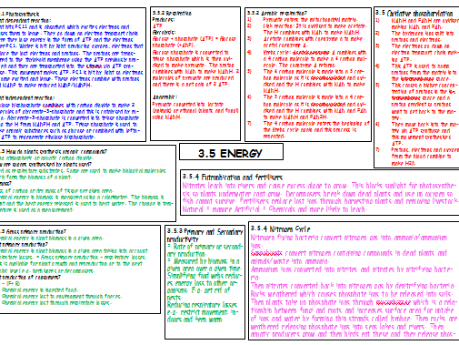 A2 AQA A LEVEL BIOLOGY COMPLETED MINDMAPS 3.5 Energy and 3.6 Responses