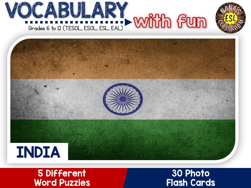 India - Country Symbols: 5 Different Word puzzles and 30 Photo flash cards (ESL, ELA, ELL, TESOL)