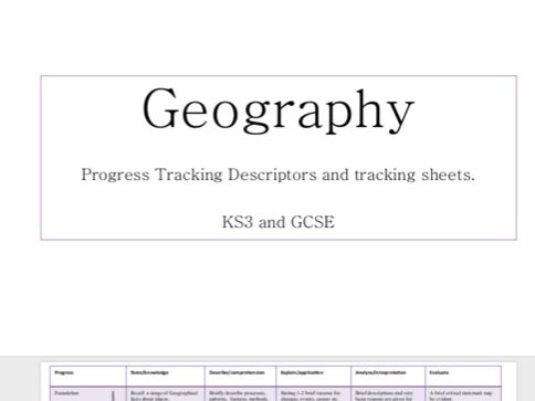 Geography KS3-4 Progress Tracking