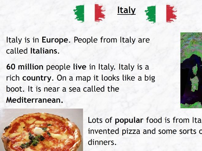 Italy Fact Page - Key Stage 1