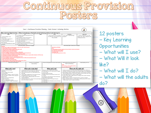 Year 1 Continuous Provision Posters for Assessment and Observations