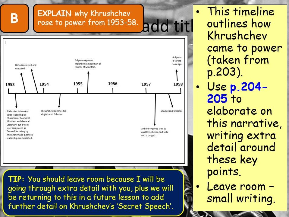 AQA A-Level Tsarist & Communist Russia Lesson 89 (Khrushchev's Rise to Power)