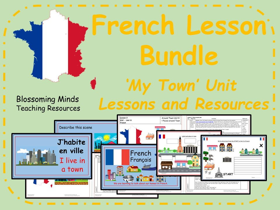 French 5 lesson bundle - KS2 - My Town