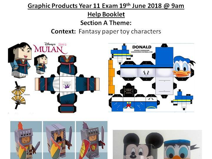 AQA 2018 Graphic Products Exam theme Section A: Fantasy paper toy characters