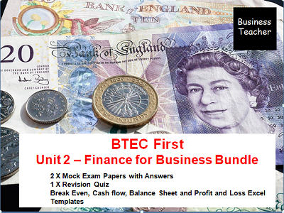 Unit 2 Finance for Business Mock Exams - BTEC Level 1/2 First Award