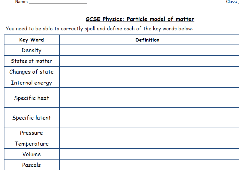 AQA New Physics 2018: Revision Checklist - Particle Model of Matter