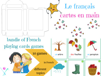 French bundle of playing cards in French for different topics