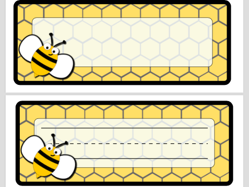 Bee Theme Name Plates