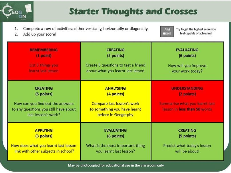 Starter and Plenary Thoughts and Crosses
