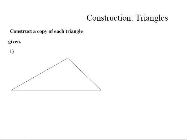 GCSE maths worksheet: construction of triangles
