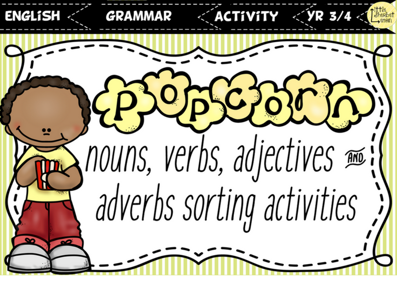 Nouns, Verbs, Adjectives & Adverbs Sorting Activity