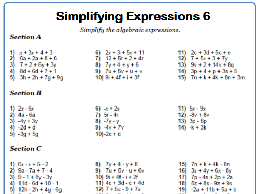 Simplifying Expressions Maths Worksheet 6