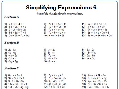 Simplifying Expressions Maths Worksheet 6