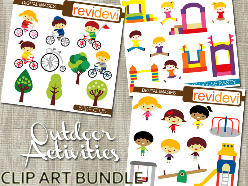 Outdoor Activities Clipart Bundle - Bicycle, Bounce house, Playground