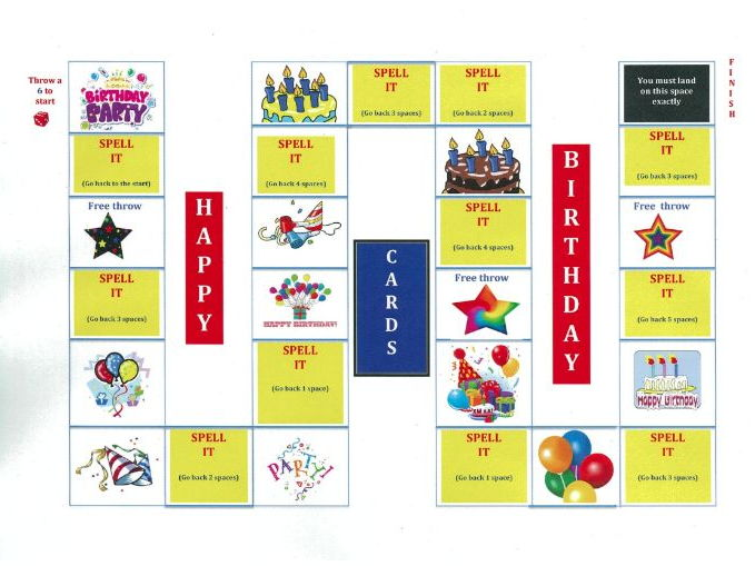KS 1/2 BIRTHDAYS - SPELLING -  BOARD GAME