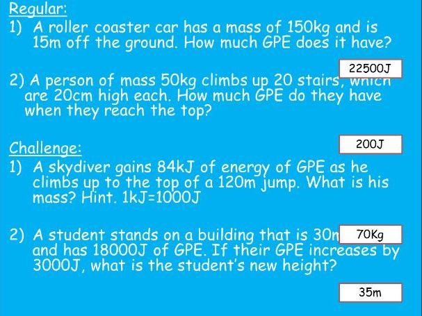 AQA GCSE P1 Equation questions