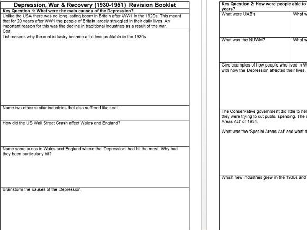 WJEC GCSE History Depression, War & Recovery Revision Work booklet