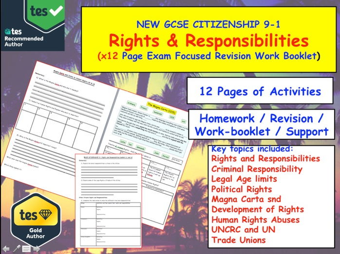 Rights and Responsibilities x12 Work Sheets GCSE CITIZENSHIP 9-1