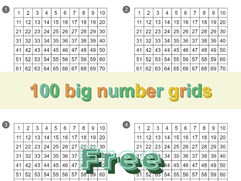 100 big number grids