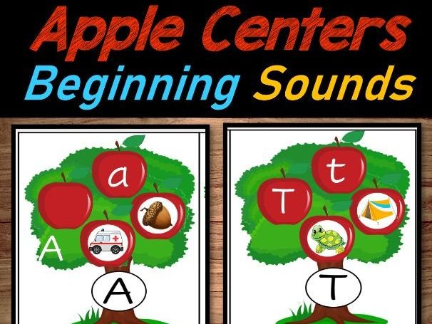 Apple Literacy Centers for September  Apple Beginning Sounds and Letter Match