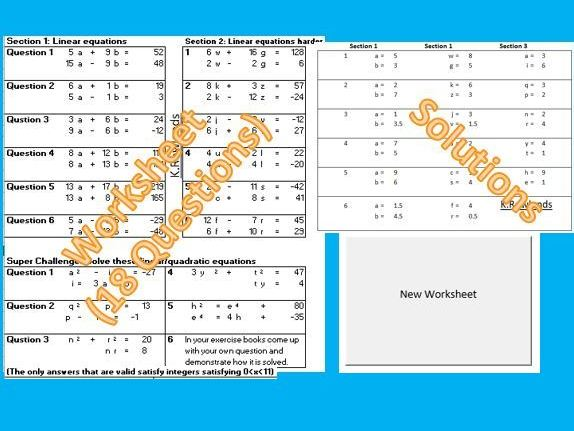 Simultaneous Equations Worksheet Generator Linear / Quadratic, 3 Levels Difficulty, Infinite Q & A