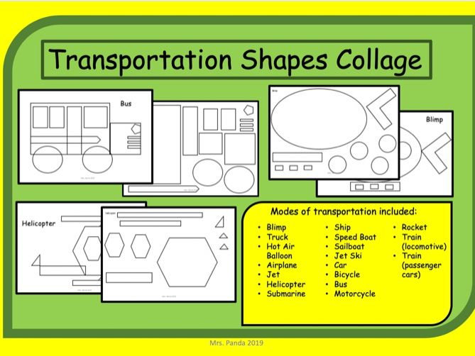Transportation Shapes Collage