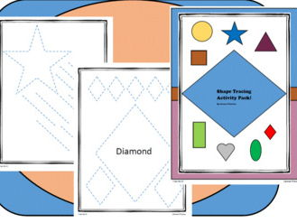 Learn Shapes! Tracing or cutting!! Activity pack!!