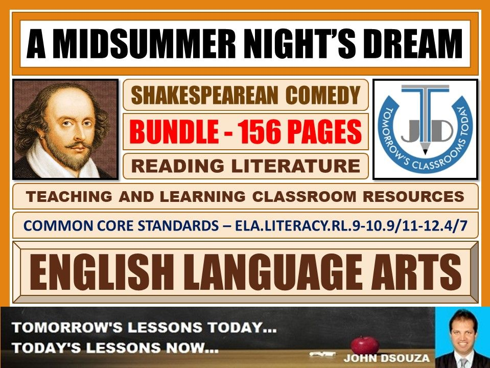 A MIDSUMMER NIGHT'S DREAM - SHAKESPEAREAN COMEDY - CLASSROOM RESOURCES BUNDLE