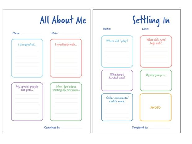 All About Me/Settling Sheets for EYFS