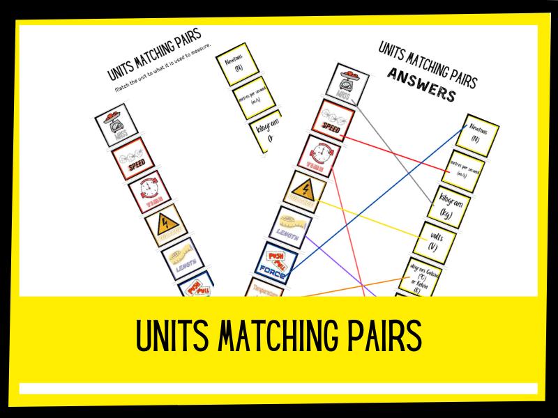 Units matching pairs | KS1 KS2 primary science