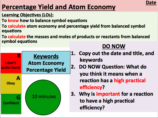 KS5 Chemistry:  Percentage Yield and Atom Economy (AS Level)