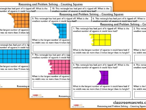 Year 4 Counting Squares WRM Spring Block 2 Reasoning and Problem Solving Pack